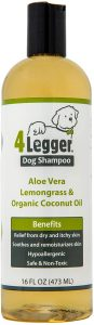 4-Legger® Certified Organic Dog Shampoo - All Natural, Hypoallergenic with Aloe - Lemongrass, Biodegradable, Non-Toxic, Soothing for Normal to Dry and Itchy Allergy Sensitive Skin - 473 ml