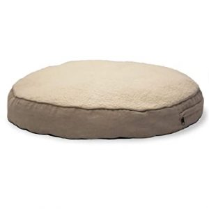 Furhaven Pet Dog Bed - Faux Sheepskin Sherpa and Suede Refillable Deluxe Round Pillow Cushion Pet Bed with Removable Cover for Dogs and Cats
