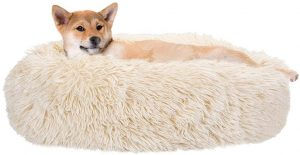 SlowTon Dog Calming Bed, Nest Warm Plush Dog Cat Cushion with for Small Medium Pets Snooze Calm Sleeping Indoor