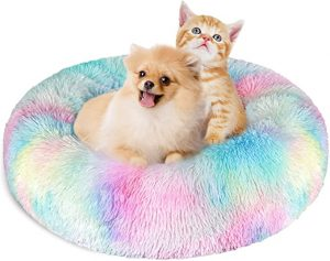 KROSER Donut Dog Cat & Puppy Bed Deluxe Round Soft Plush Pet Bed for Small Dogs and Cats