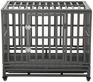 LUCKUP Heavy Duty Dog Crate Strong Metal Kennel and Crate
