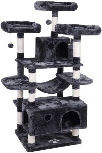 Bewishome Large Cat Tree Condo with Sisal Scratching Posts Perches House Hammock