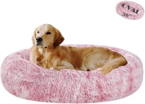 "Coohom Oval Calming Dog Bed, Shag Cat Bed Pillow Pet Bed(30""/36"") for Small Medium Dogs"