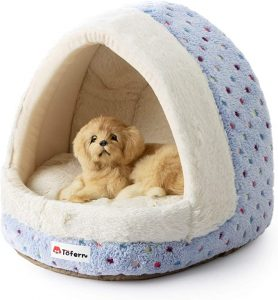 Tofern Colorful Dots Patterns Striped Cute Pet Fleece Bed Puppy Small Medium Dog Cat Sleeping Igloo House