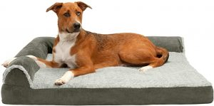 FURHAVEN PET-PLUSH ORTHOPEDIC SOFA, L-SHAPED CHAISE COUCH DOG BED