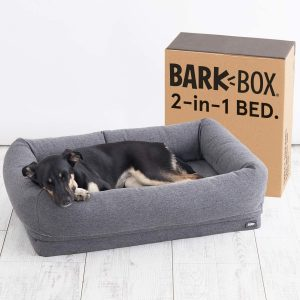 Barkbox 2-in-1 Dog Cuddler Bed Plush Orthopedic Joint Relief Crate Lounger or Donut Pillow Bed includes Toy