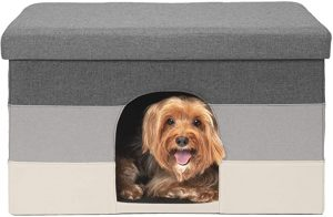 FURHAVEN PET- COLLAPSIBLE LIVING ROOM OTTOMAN FOOTSTOOL SMALL PET DEN