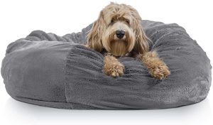 Furhaven Pet-Orthopedic Chaise Lounge Deluxe L-Shaped Pet Bed
