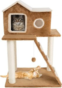 3 Tier Plush Multilevel Cat Tree with Scratching Posts & Climbing Ladder