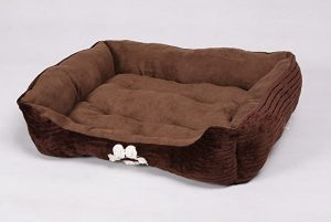 Long Rich Reversible Rectangle Pet Bed Dog Bed with Dog Paw Embroidery by Happy care Textiles