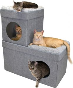 Kitty City Large Stackable Tan Cat Condo, cat Cube, Cat House
