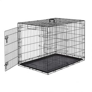 AmazonBasics Single Door Folding Metal Dog or Pet Care Kennel with Tray
