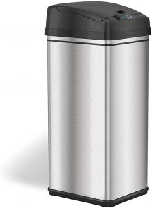 iTouchless 13 Gallon Stainless Steel Automatic Trash Can with Odor-Absorbing Filter