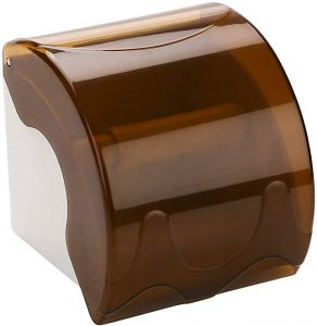 YOMESTE tp Wall Mounted Waterproof Paper Holder With Shelf Bathroom Paper Roll Holder Cat Proof Toilet Paper Holder (Brown)