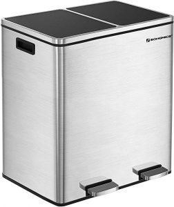 SONGMICS 16 Gallon Step Trash Can Double Recycled Pedal Bin
