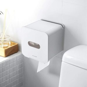JOMOLA Pet Cat Proof Toilet Paper Holder Adhesive Roll Toilet Paper Dispenser with Phone Shelf Wall Mounted Toilet Tissue Holder Cat-Proof White x 5 stars